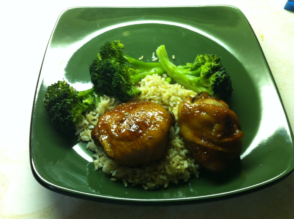 Honey Garlic Chicken with brown rice and broccoli