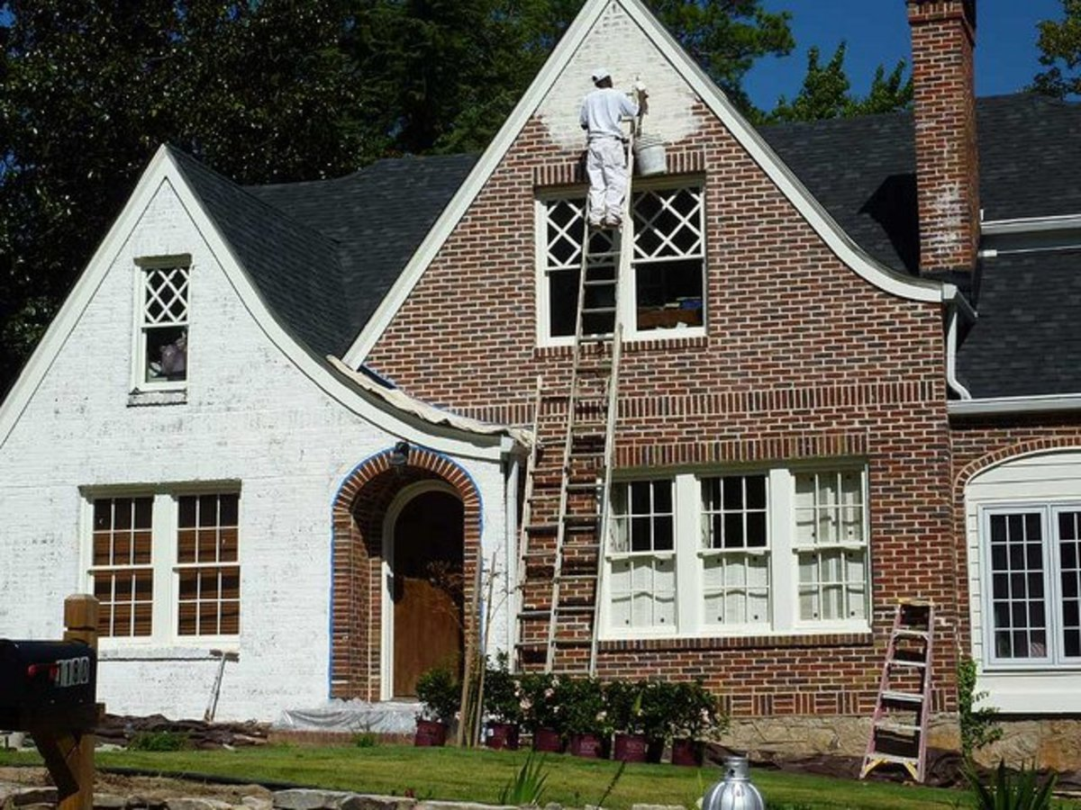 How to paint the exterior of a brick house dengarden White painted brick exterior