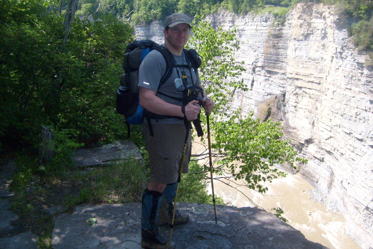 Hiking has great rewards, but care must be taken to hike safely and tread lightly.  This picture taken at Letchworth Gorge.