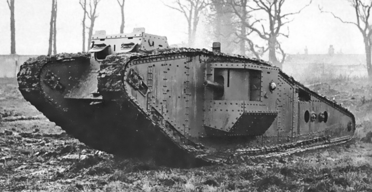 WW1: British Mark IV (Tadpole) tank - A Mark IV with an extended 'Tadpole' tail designed to increase it's trench-crossing ability.