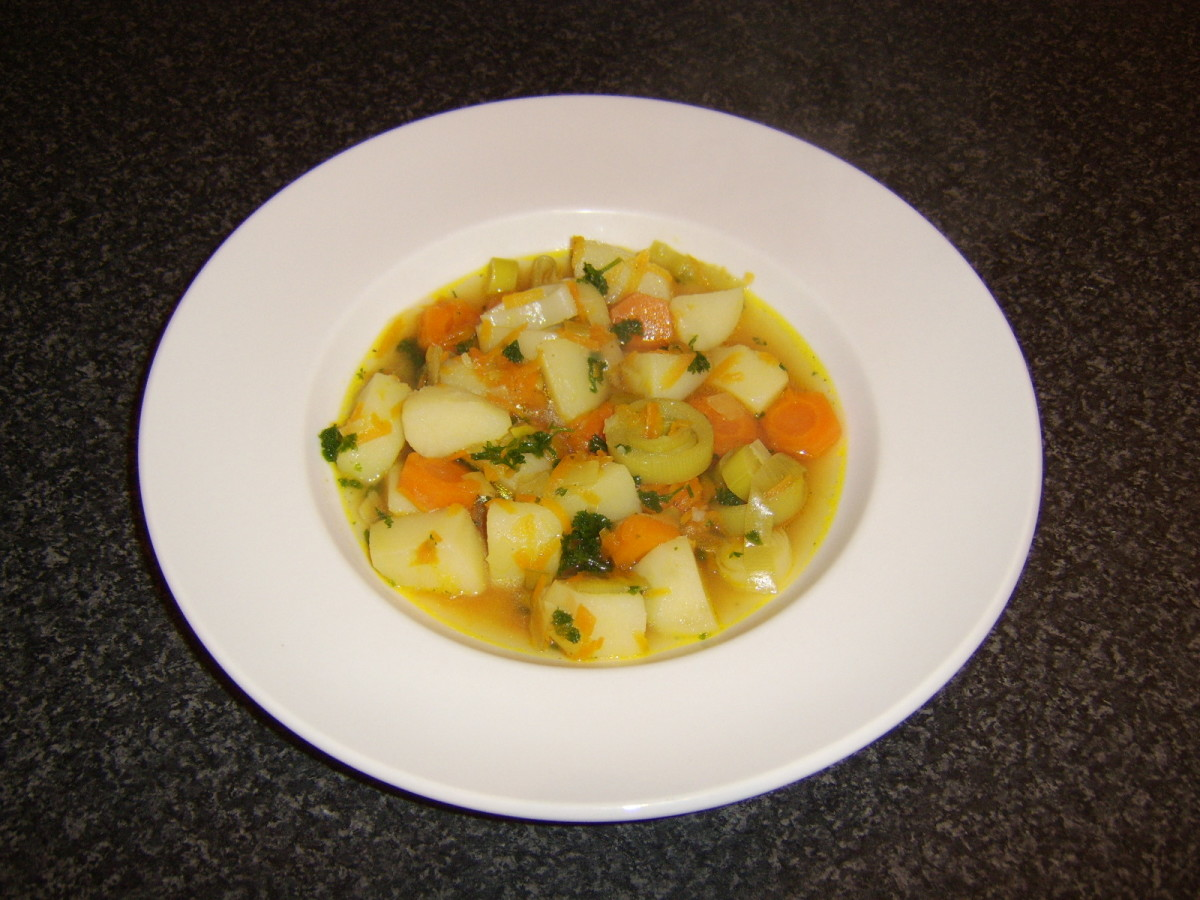 Vegetable soup is just one of the many delicious dishes that can be made with fresh vegetable stock.
