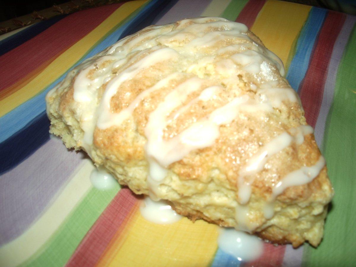 Freshly baked and glazed scone