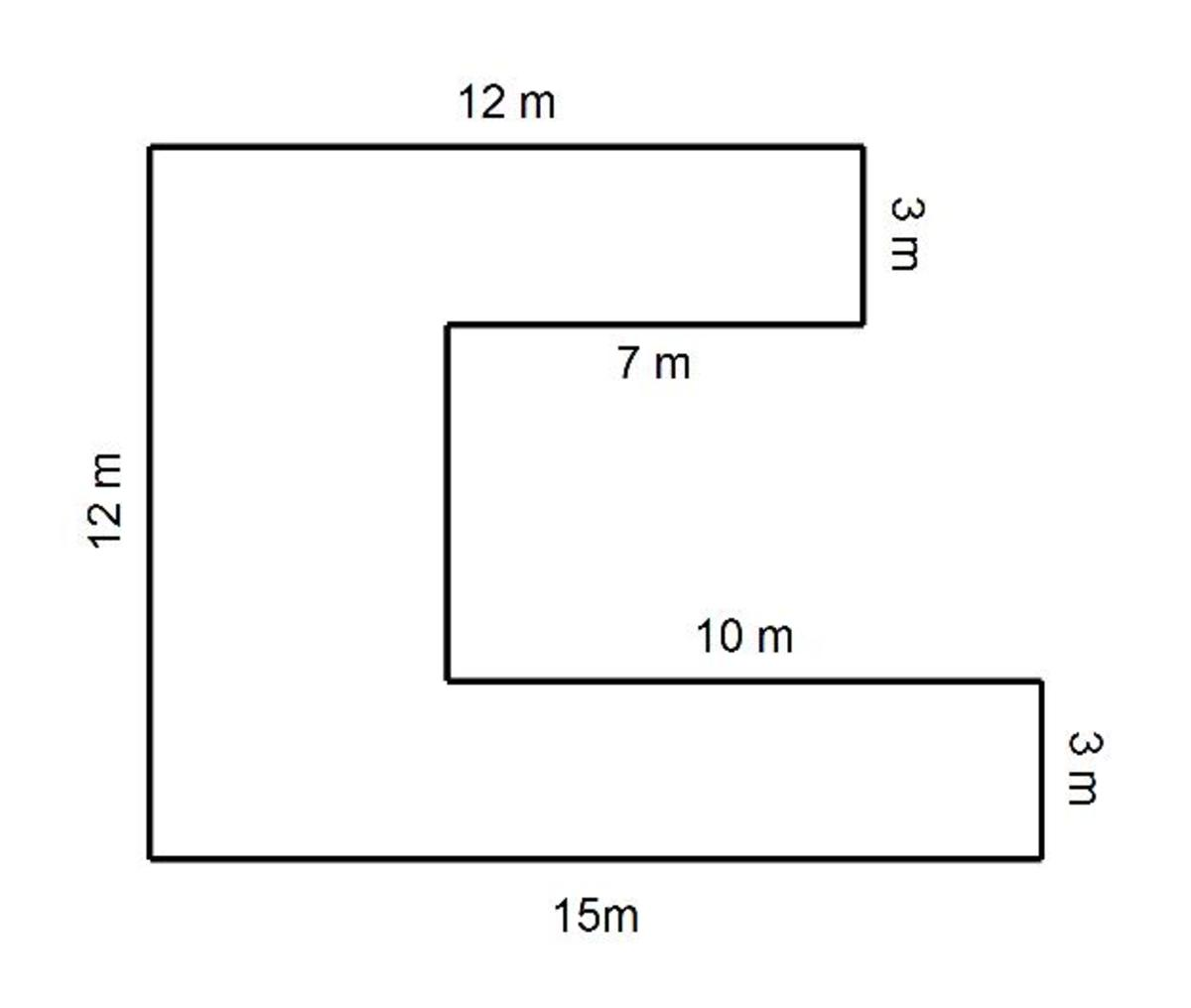 Compound C shapes. How to calculate the perimeter and area of a C shape.