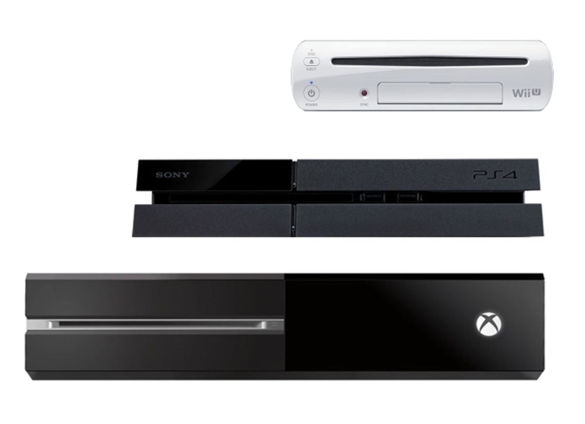 Bottom to top: Microsoft's Xbox One, Sony's PlayStation 4, and Nintendo's WiiU