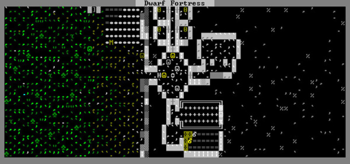A fairly typical Dwarf Fortress early embark. Green periods and commas are grasses or other ground cover. Green spades are trees. The multicolored smilies are our stalwart dwarves. in the lower center, we see a food stockpile.