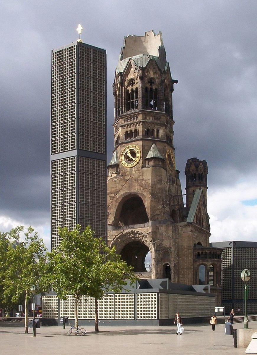 The ruins of the Kaiser Wilhelm Memorial Church in Berlin heavily damaged by Allied bombing during WWII and preserved as a monument.