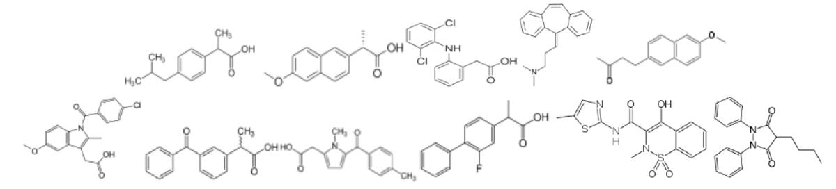 NSAIDs - chemical structure: ibuprofen, naproxen, diclofenac, cyclobenzaprine, nabumetone, indomethacin, ketoprofen, tolmetin, flurbiprofen, meloxicam, phenylbutazone