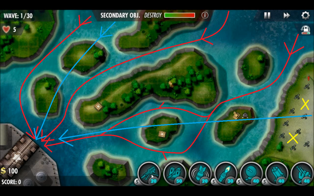 Naval paths drawn in red, air in blue and yellow X marks spots to drop bombs for the secondary.