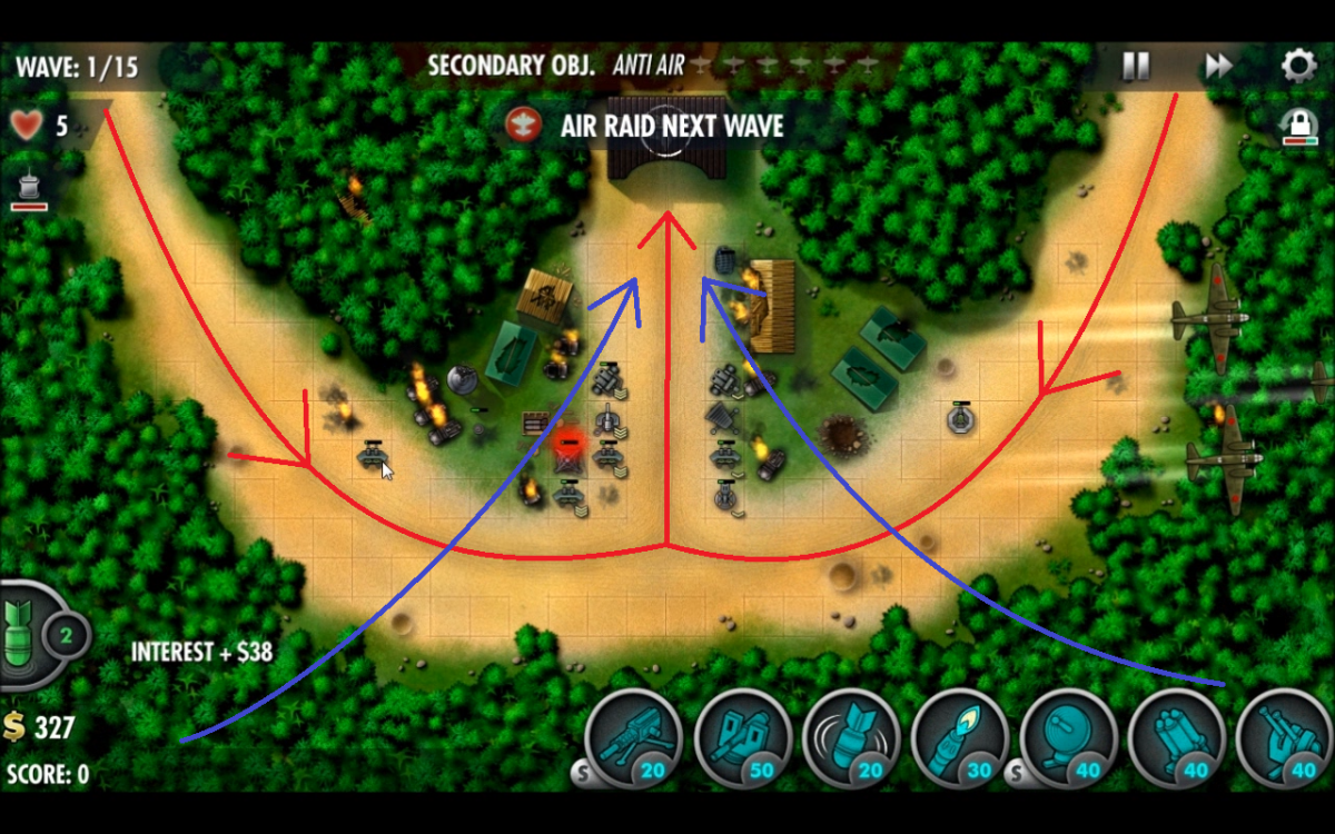 The enemy wave paths in the Battle of Tenaru counter attack mission. Red lines show ground and blue show air.