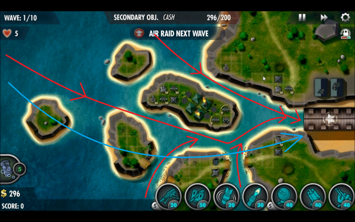 Path of the enemy units in Truk Lagoon, red being naval and blue being air.