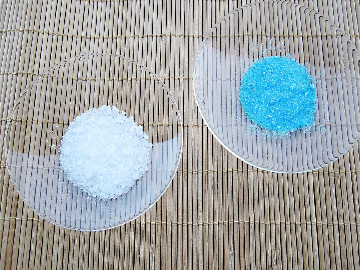 Two inorganic hydrates—magnesium sulphate heptahydrate (Epsom salts) and copper sulphate pentahydrate