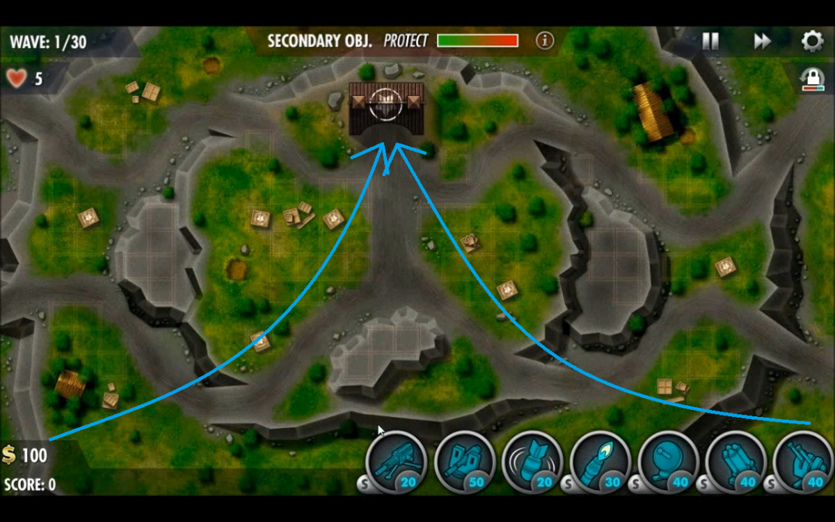 Ground units take all 4 of the roads leading towards your base while air units travel along the two blue lines.