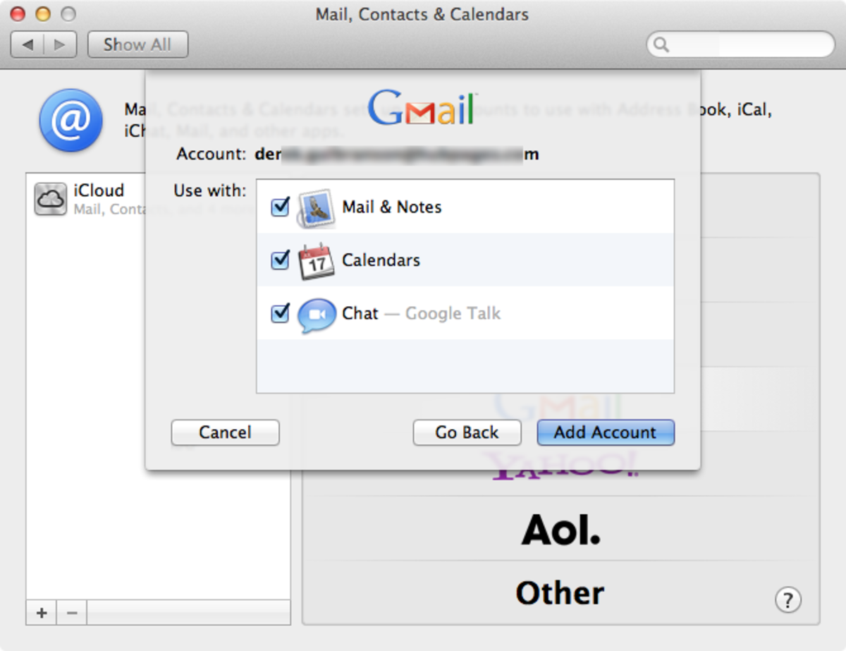 "Choose the ""Gmail"" option to add your Google account to your Mac."
