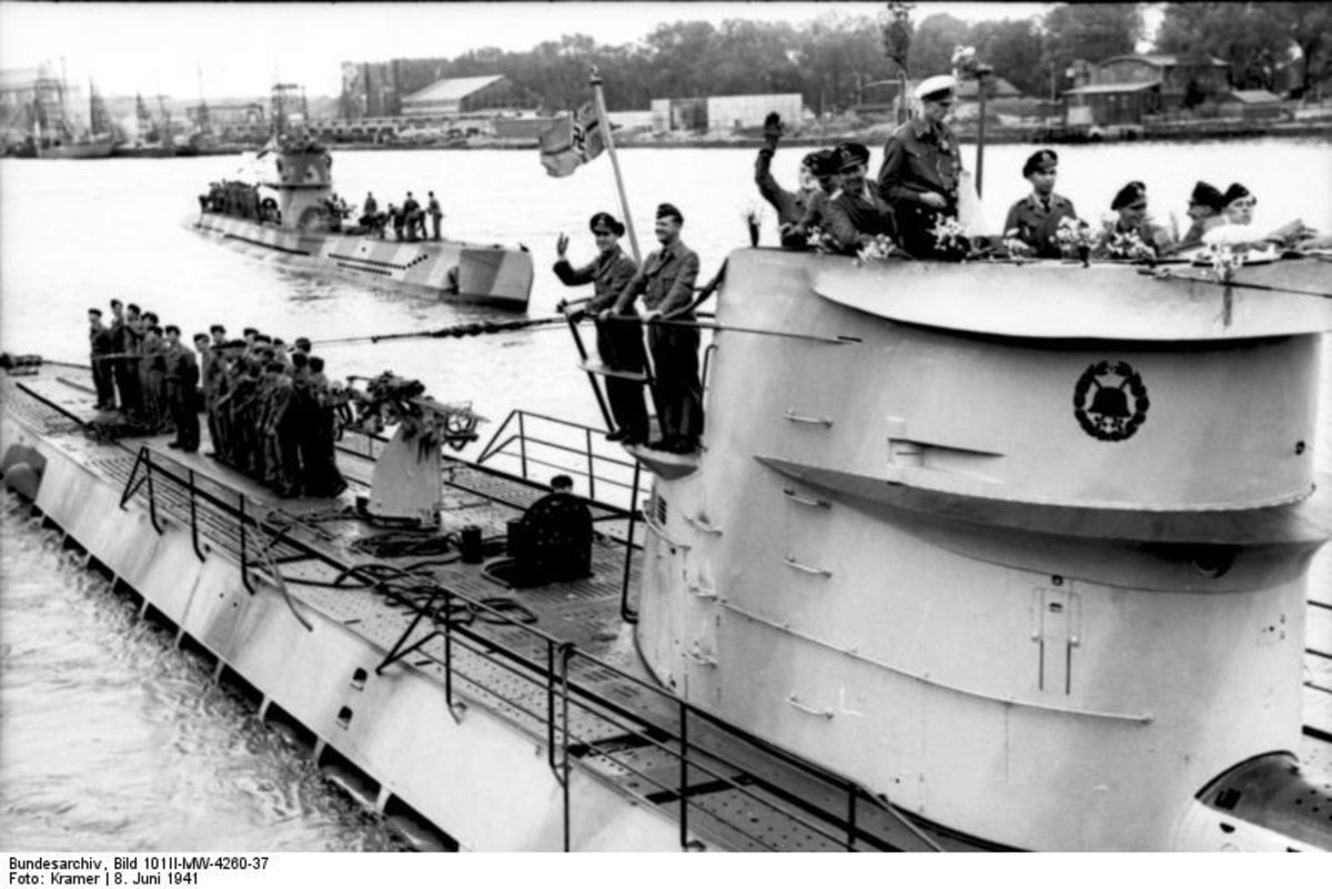 WW2: Lorient, France. U-Boat U-123 (foreground) and U-201. June 8, 1941.