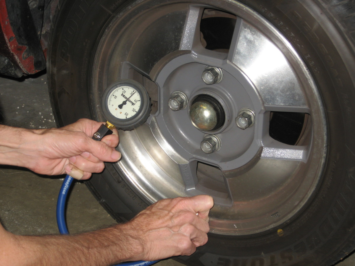 To check tire pressures, you need a good tire gauge, and you need to know the appropriate tire pressures for your tire-wheel-car combination.