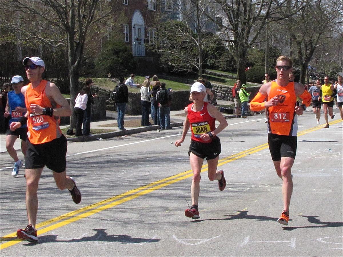 Joan Benoit Samuelson, still going strong at the Boston Marathon.