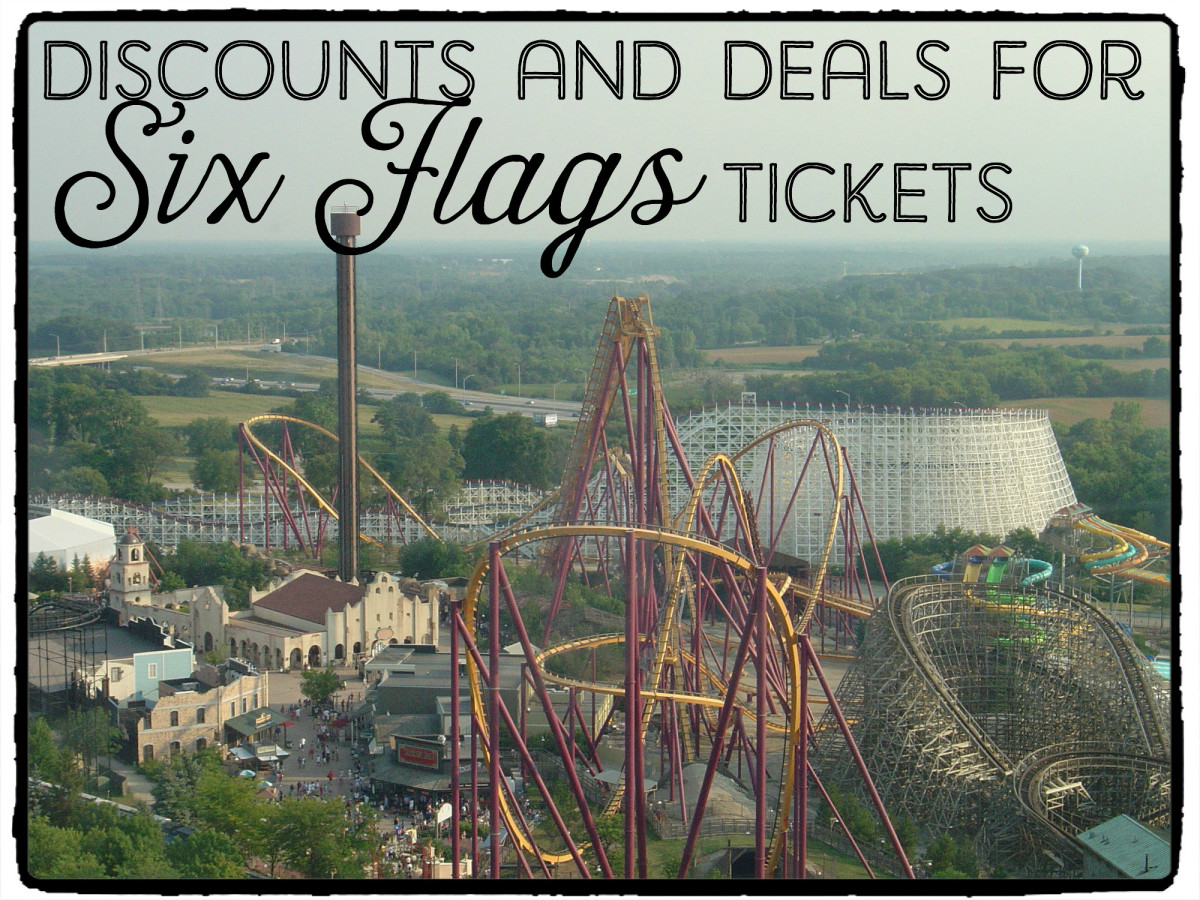 The American Eagle's helix, Giant Drop, Raging Bull, and Viper roller coasters at Six Flags Great America, Chicago.