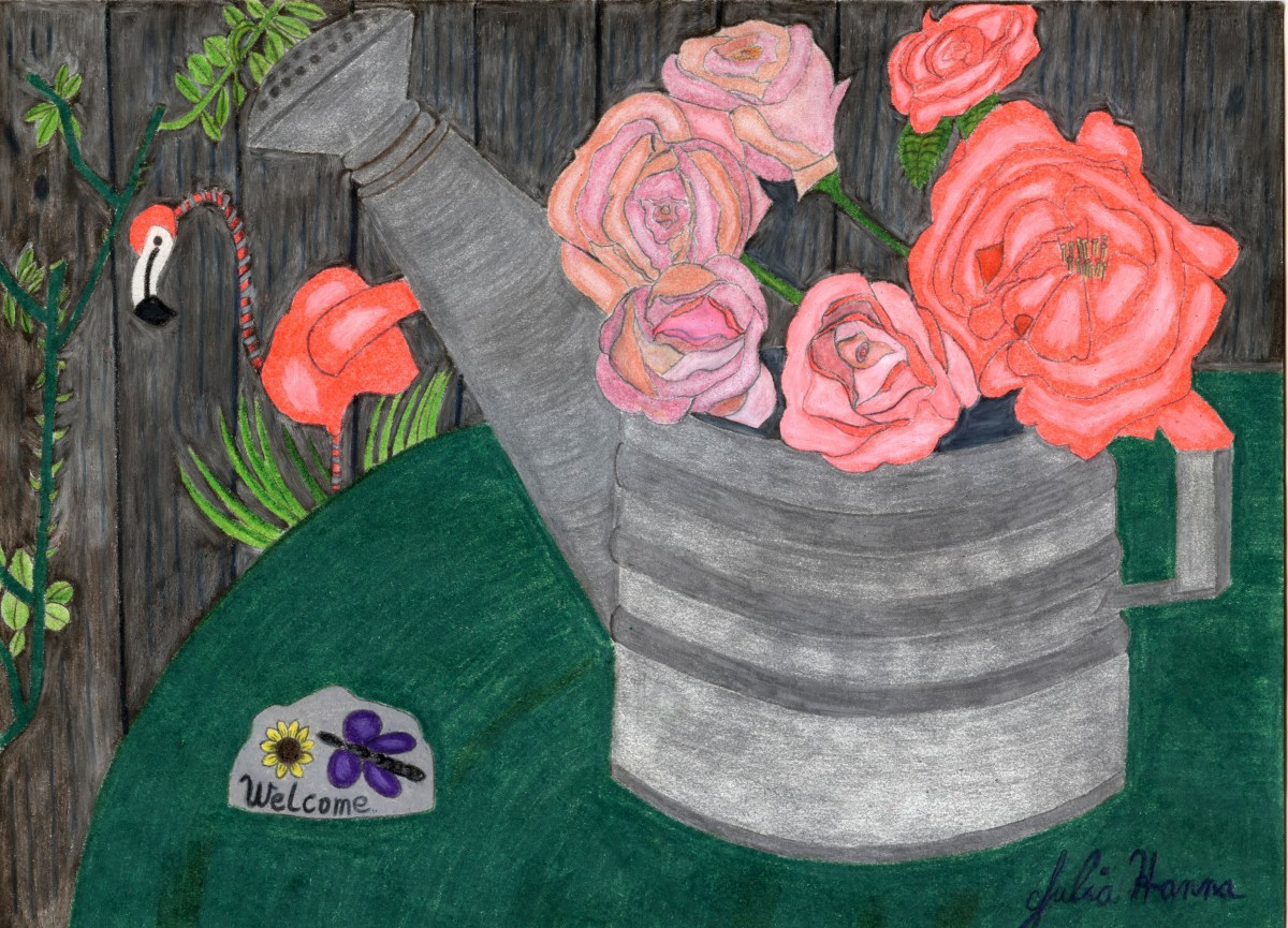 The scanned version of my colored pencil drawing of the roses in the watering can.