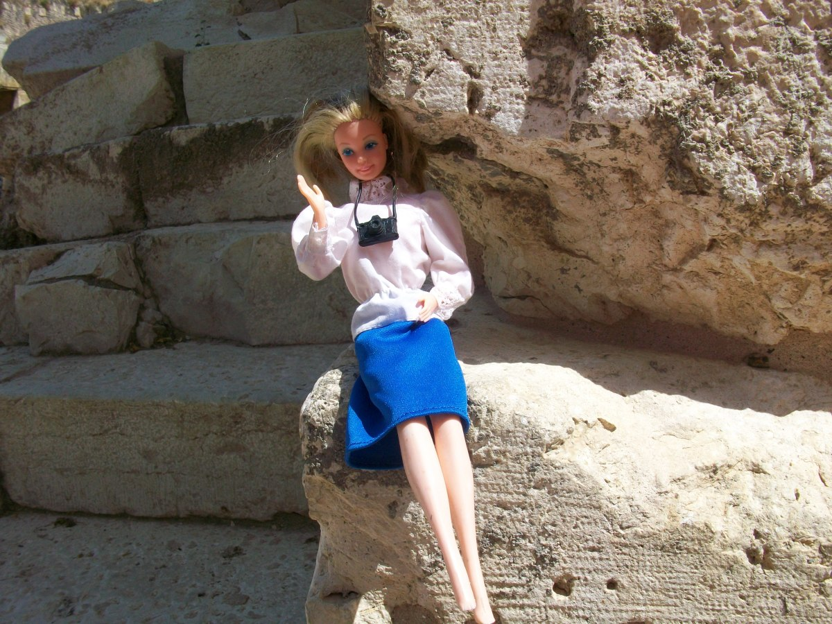 We brought Barbie along on our trip. Here she is at the Western Wall. (Note the modest dress; it wasn't easy to find a Barbie outfit that covers her knees and elbows.)