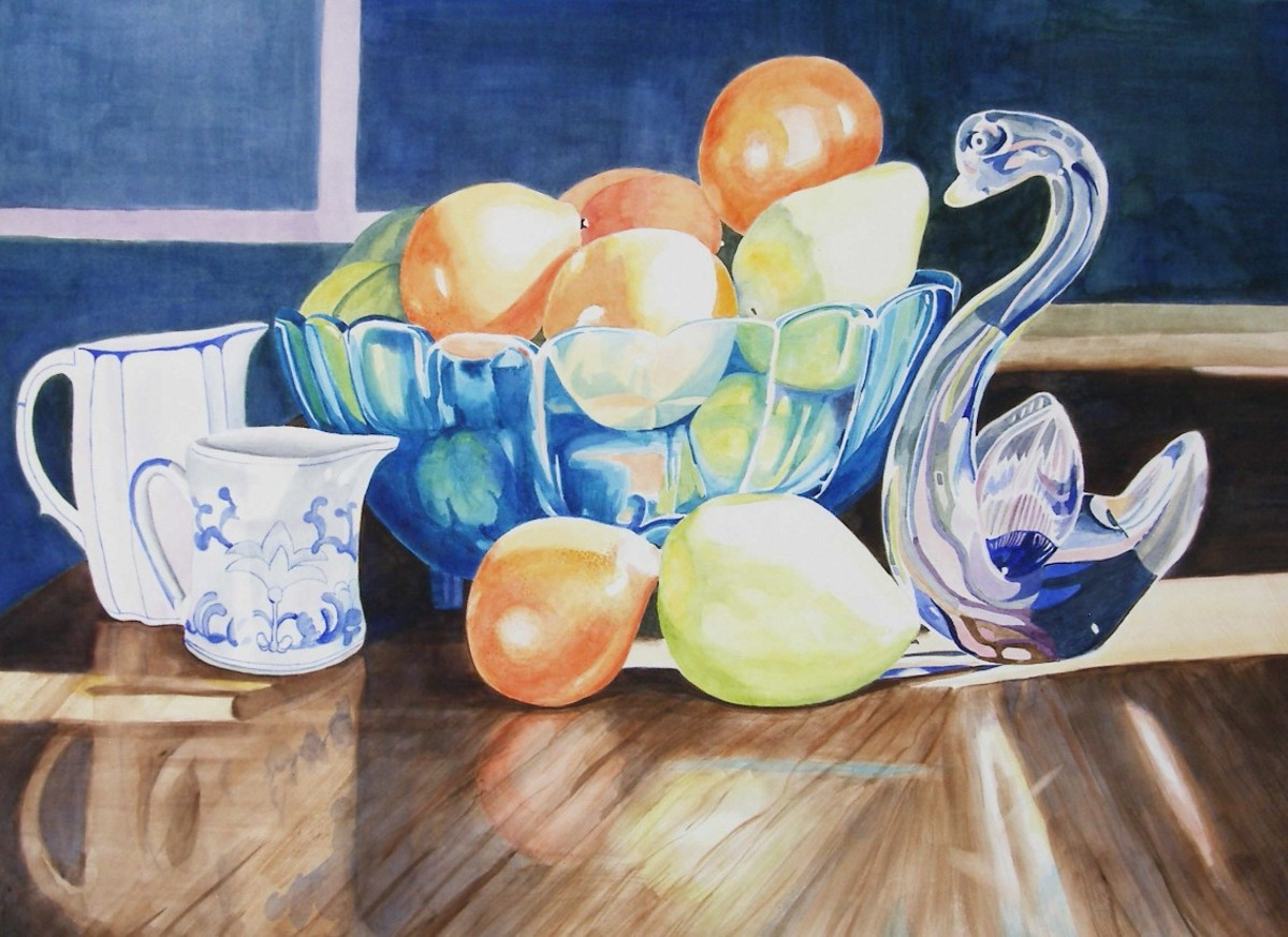 "Still Life w/Oranges, watercolor, 20 x 28"" Item 61 in Catalog"
