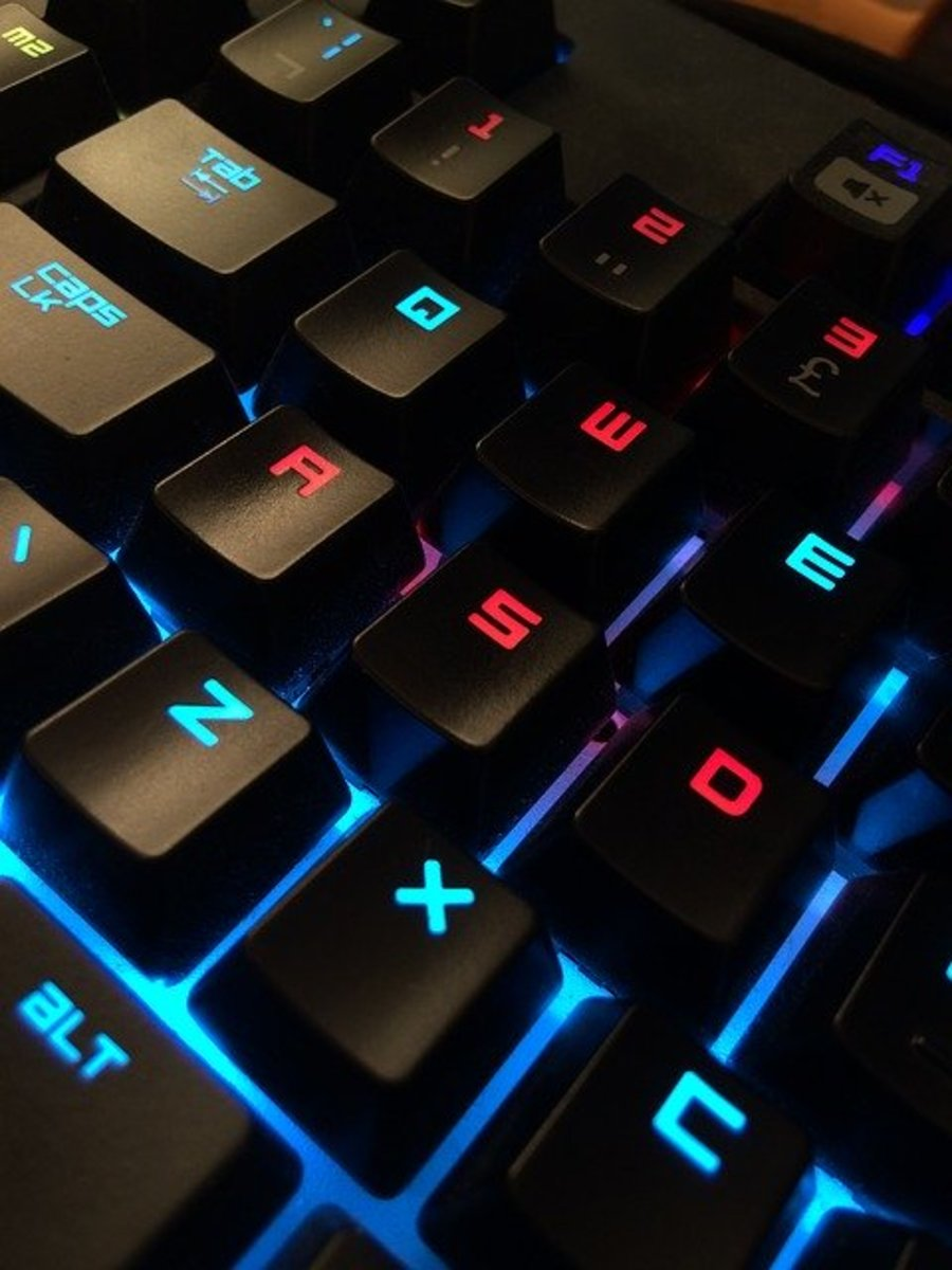 A backlit gaming keyboard.