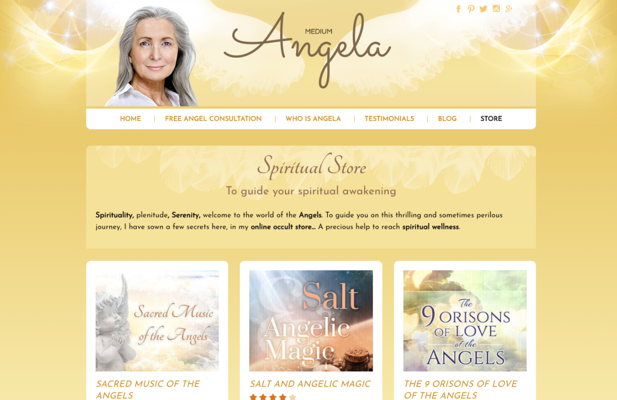 Angela, Angel Medium's Spiritual Store page.