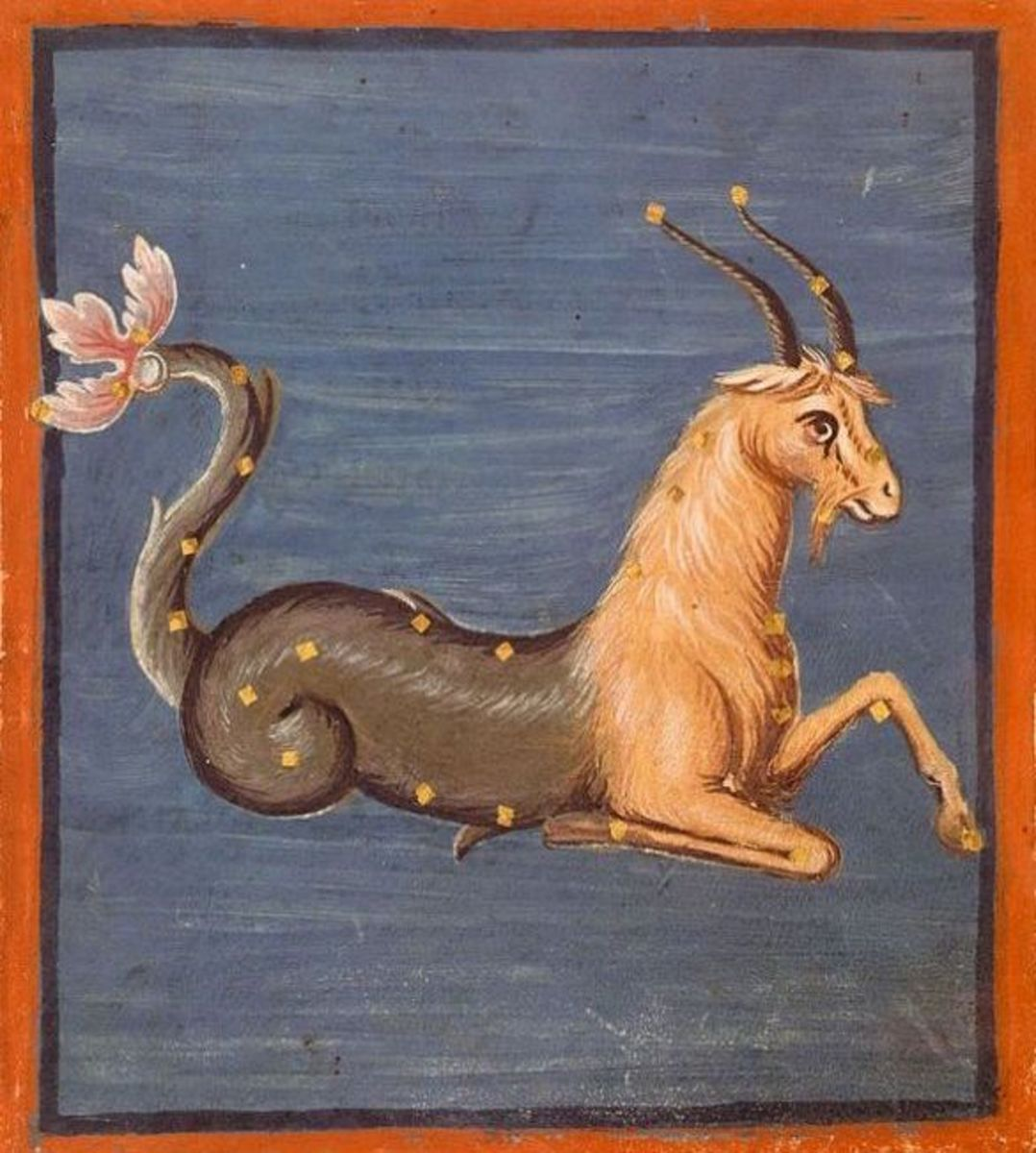 Capricorn the sea-goat was once the great Chaldean god of creation, Ea, able to live on both land and sea. The last of his kind, he was placed among the stars.