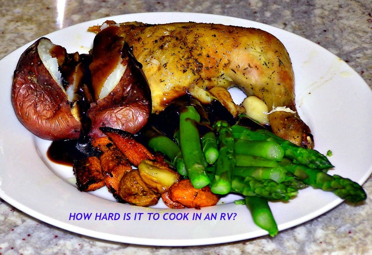 An RV meal like this is easy to make:  chicken in the crock pot and veggies on the grill!