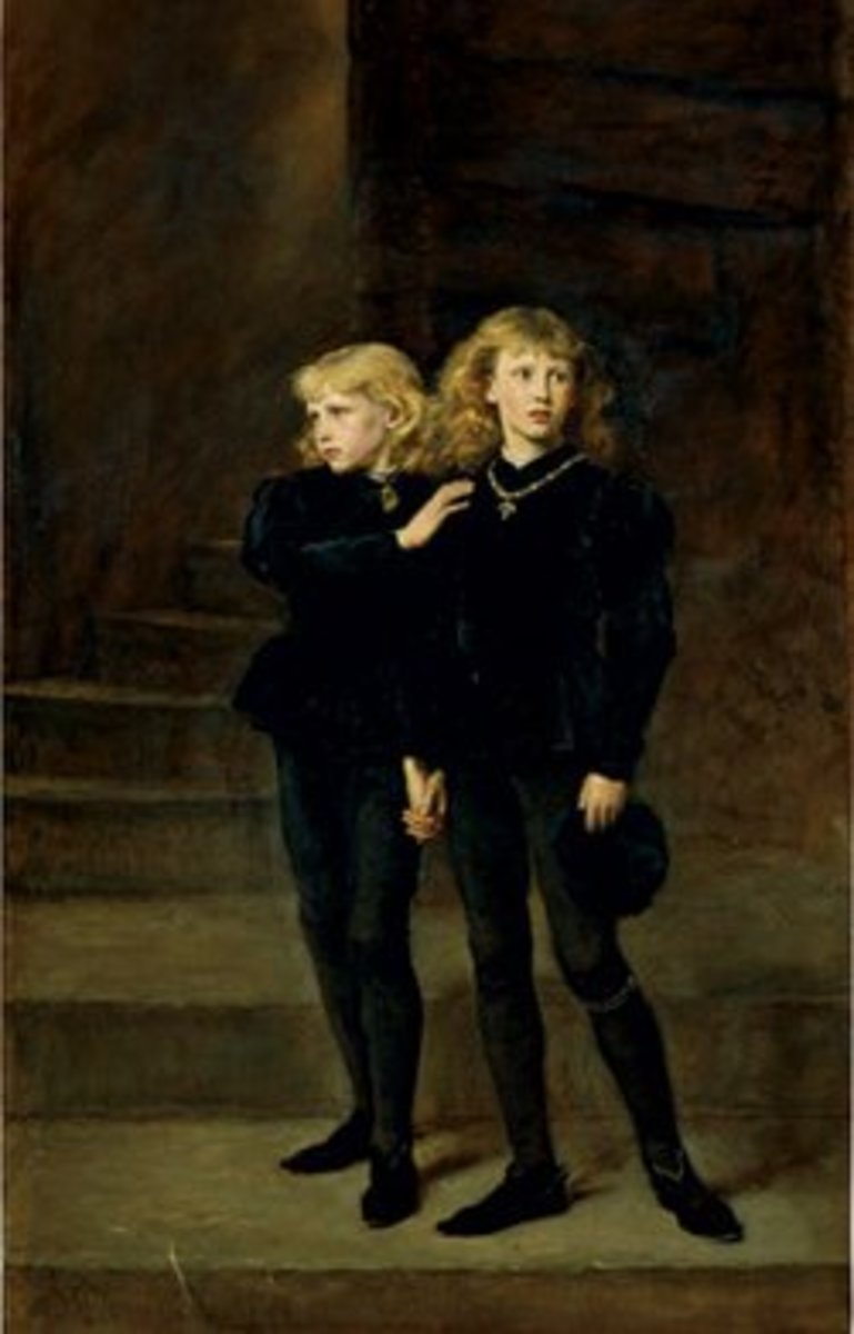 Painting of The Princes in the Tower by John Everett Millais in 1878