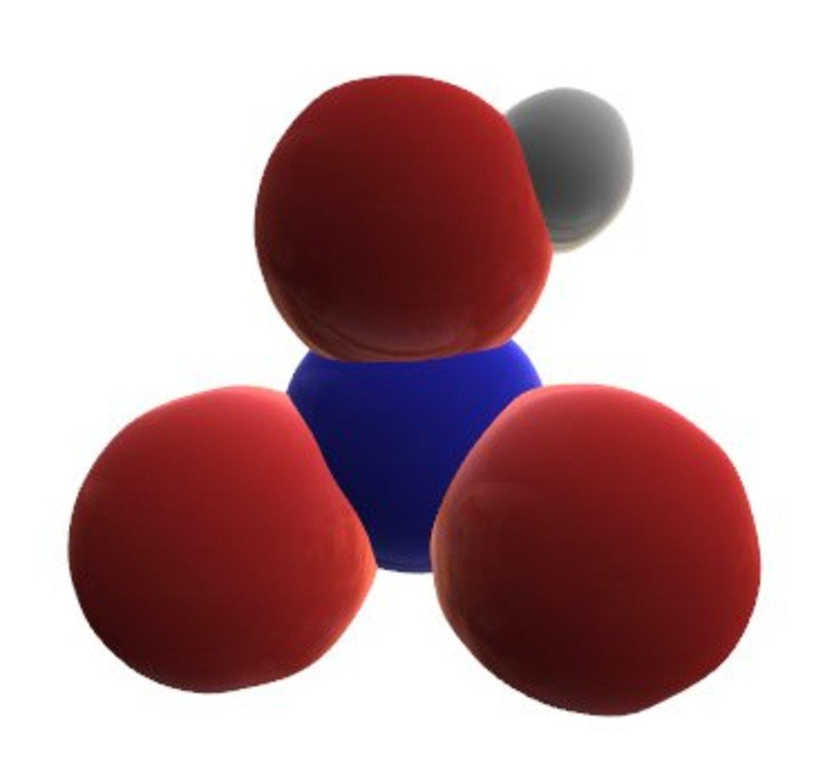 3D molecular model of nitric acid