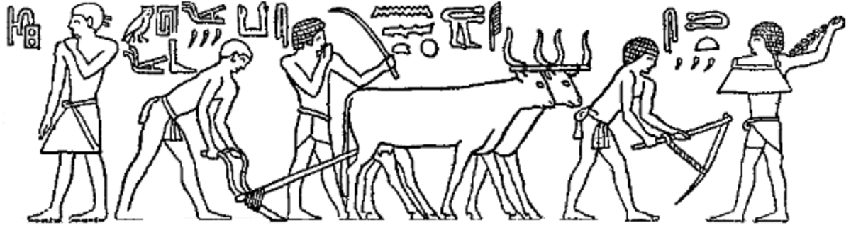 Egyptian drawings were often in tombs, pyramids, and caves. They often depicted their gods, and their daily life.