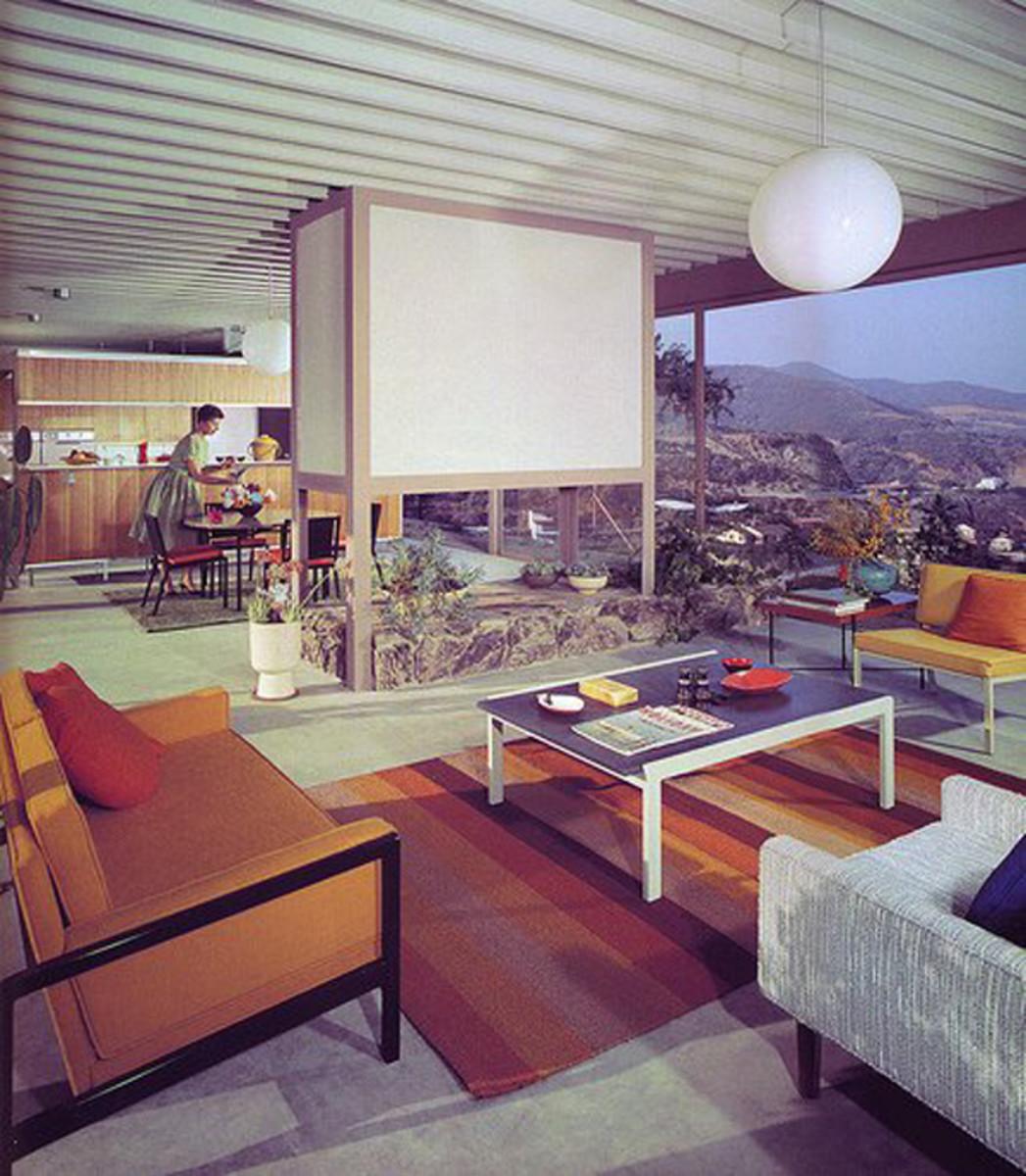 Mid-century modern interior residential design.