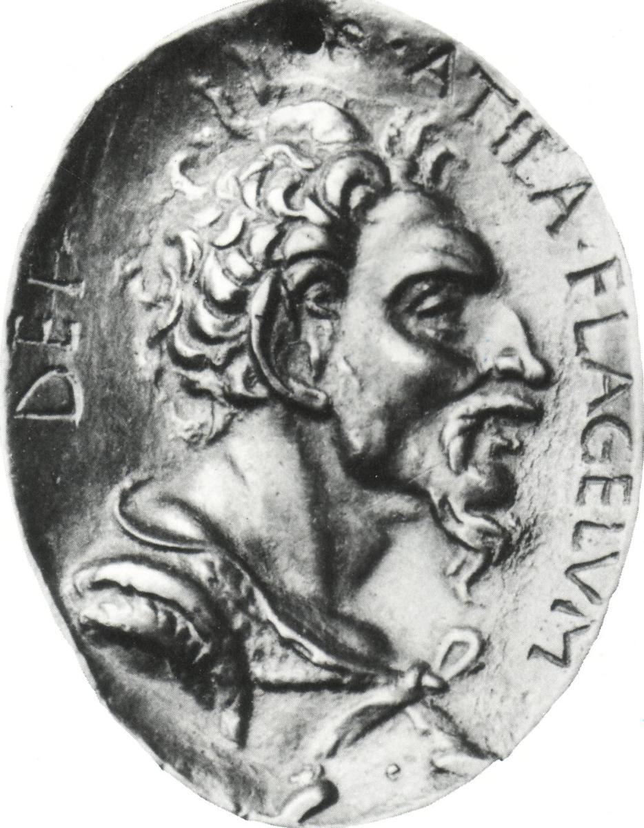 A coin bearing the image of Attila