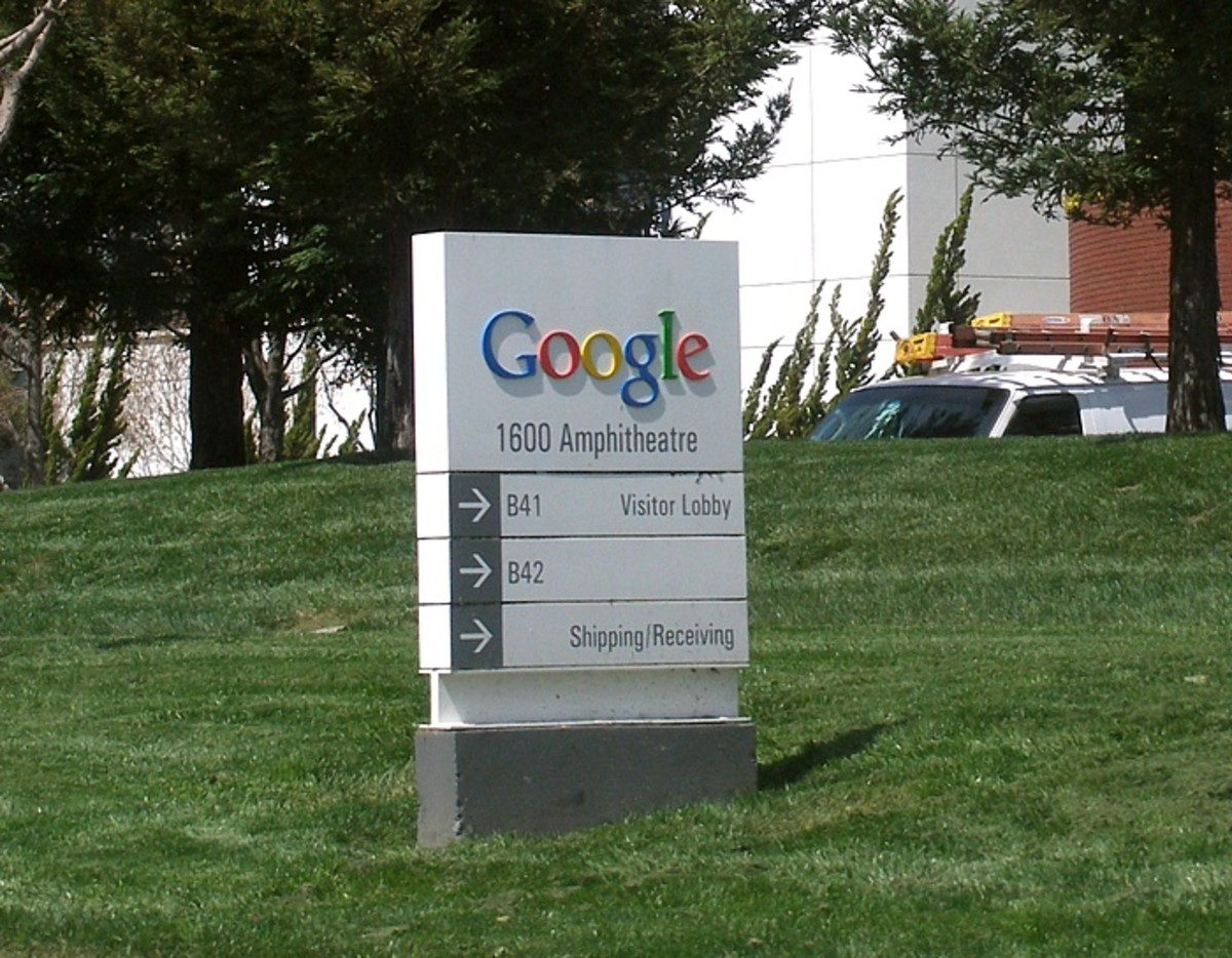 A Google sign outside the Googleplex building a the company's headquarters in Mountain View, California