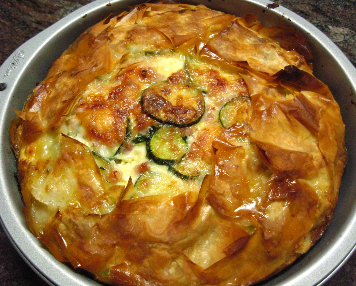 Zucchini, cheese, and ham quiche recipe. Serve it as an appetizer or as a main dish, maybe accompanied by a garden salad or grilled vegetables.