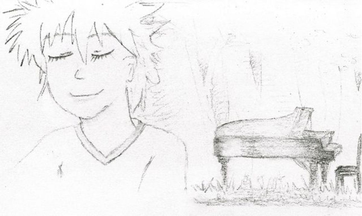 Kai and the piano in the forest (Piano no Mori). Sketched by Kymberly.