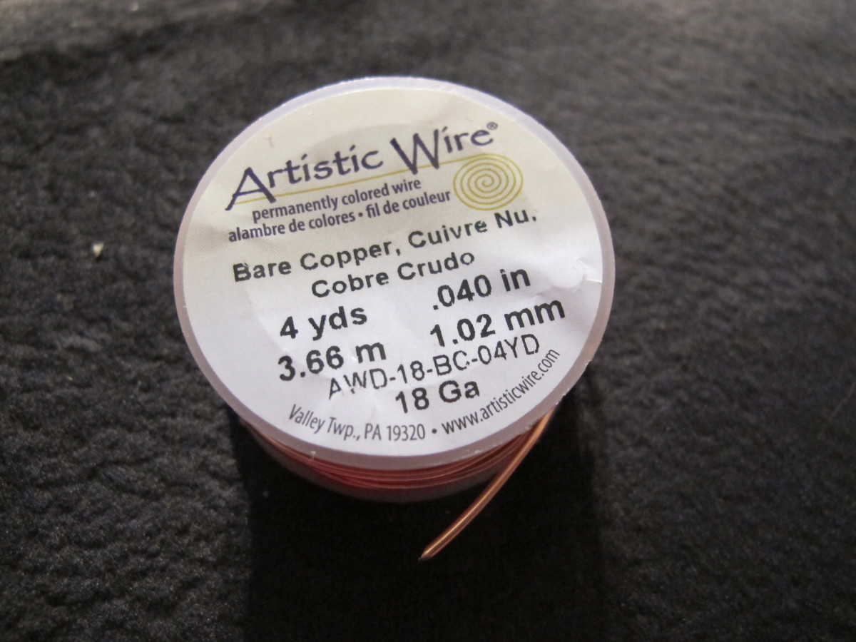 Artistic wire, 18 gauge copper