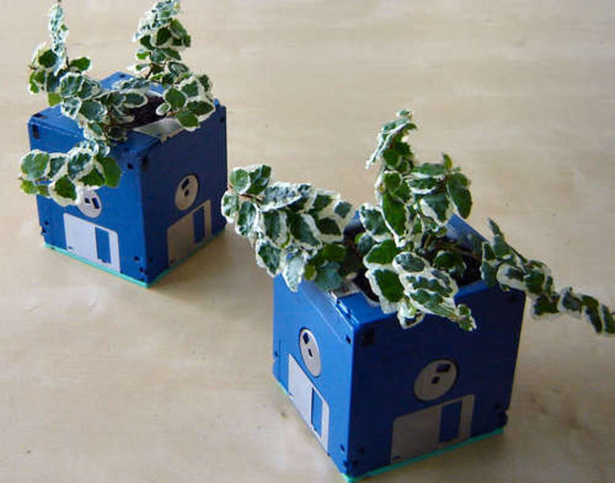 Ideas for making planters from recycled materials.