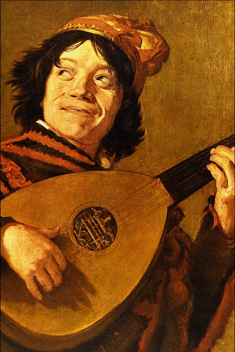 Medieval Jester playing a lute