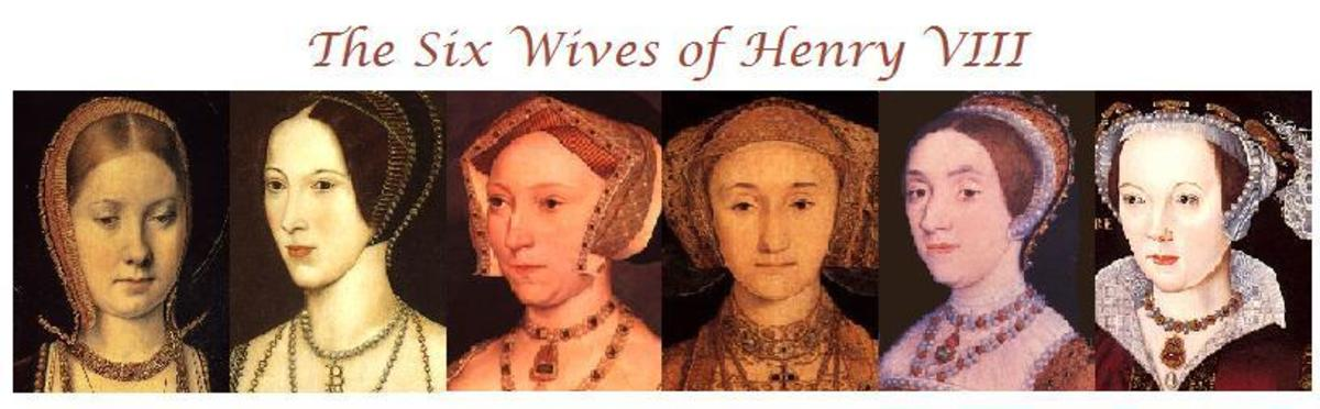 Left to right: Katherine of Aragon; Anne Boleyn; Jane Seymour; Anne of Cleves; Katherine Howard; Catherine Parr.