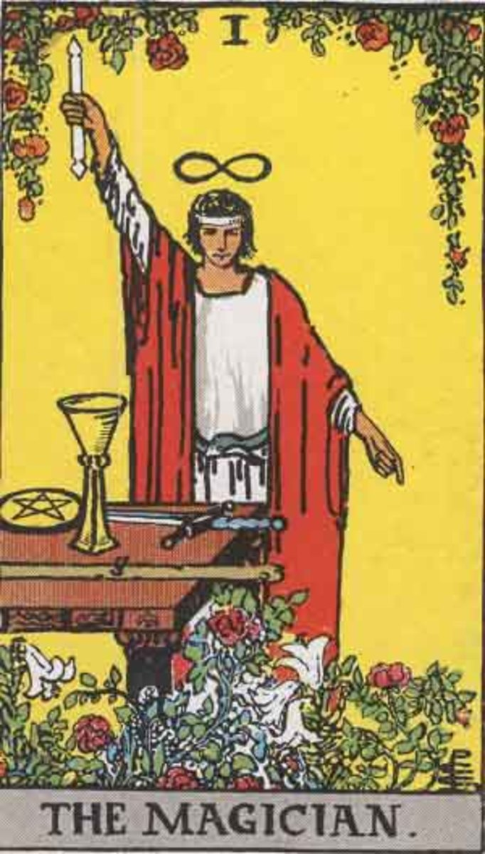 The Magician from the Rider-Waite Tarot c.1909 (Pamela A deck, copyright free).