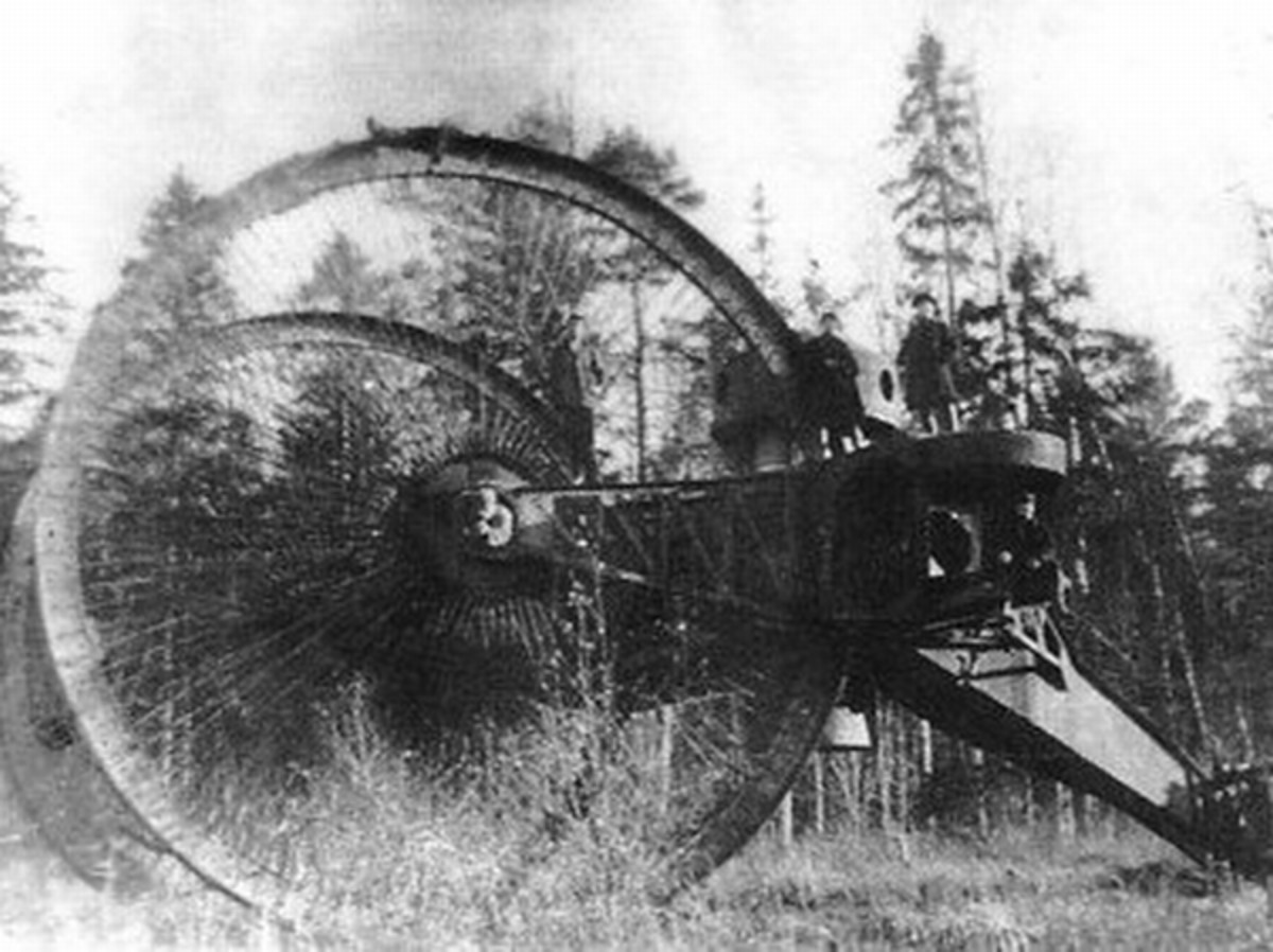 WW1: The Tsar Tank with its 30-foot diameter wheels.