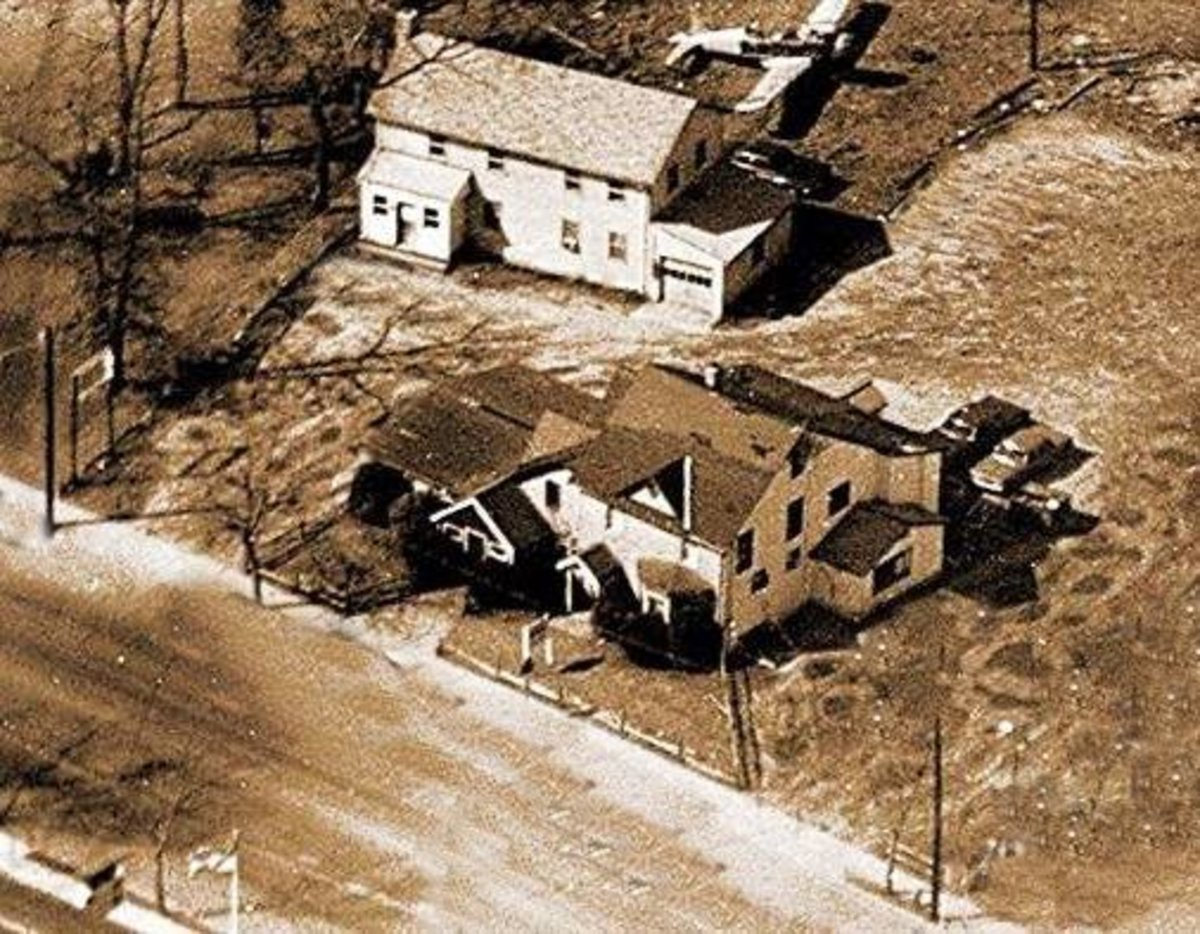 The Newbridge Inn from the air. The building closest to the road was the Restaurant/Bar. The building in the back was the owner's home. Photo by Paul Dame.  Used with permission.