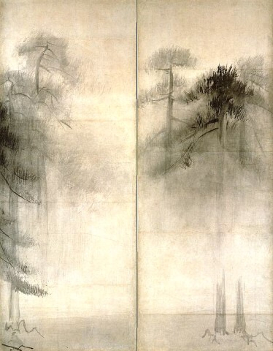 "Portion of the famous painting ""Pine Trees."" by Japanese painter Hasegawa Tohaku (1539-1610)"