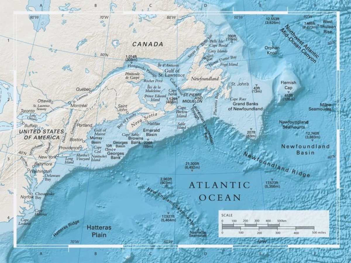 The Titanic shipwreck is located in the Newfoundland Basis right near the small triangle indicating 12, 740 ft. If it had sunk a few hundred miles further south the pieces of the ship would have fallen in valleys further south.