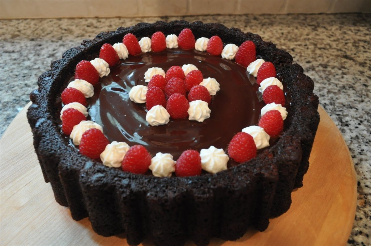 Chocolate Mary Ann Pancake with Ganache and Raspberries