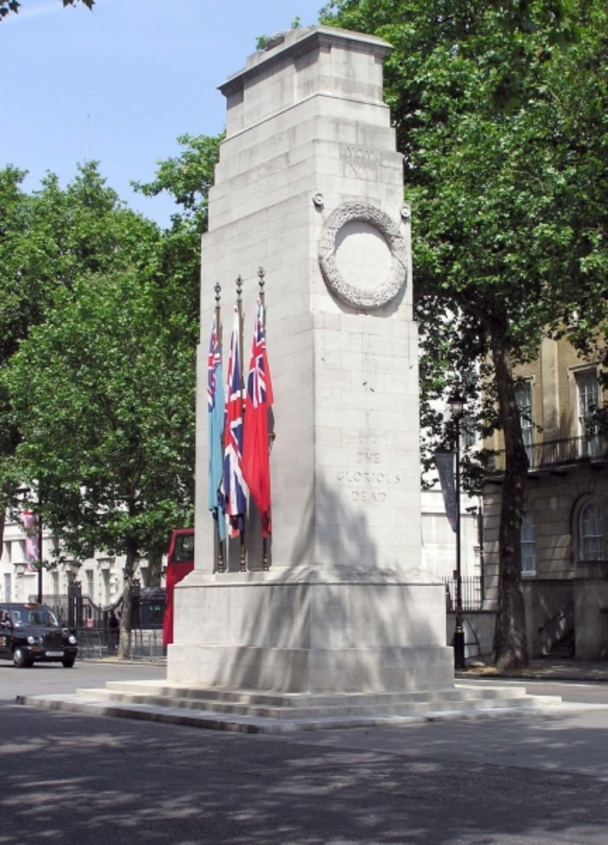 The Cenotaph in Whitehall, London was constructed to commemorate British soldiers who died in the 1914-1918 War, but later changed to honor the dead in all wars.