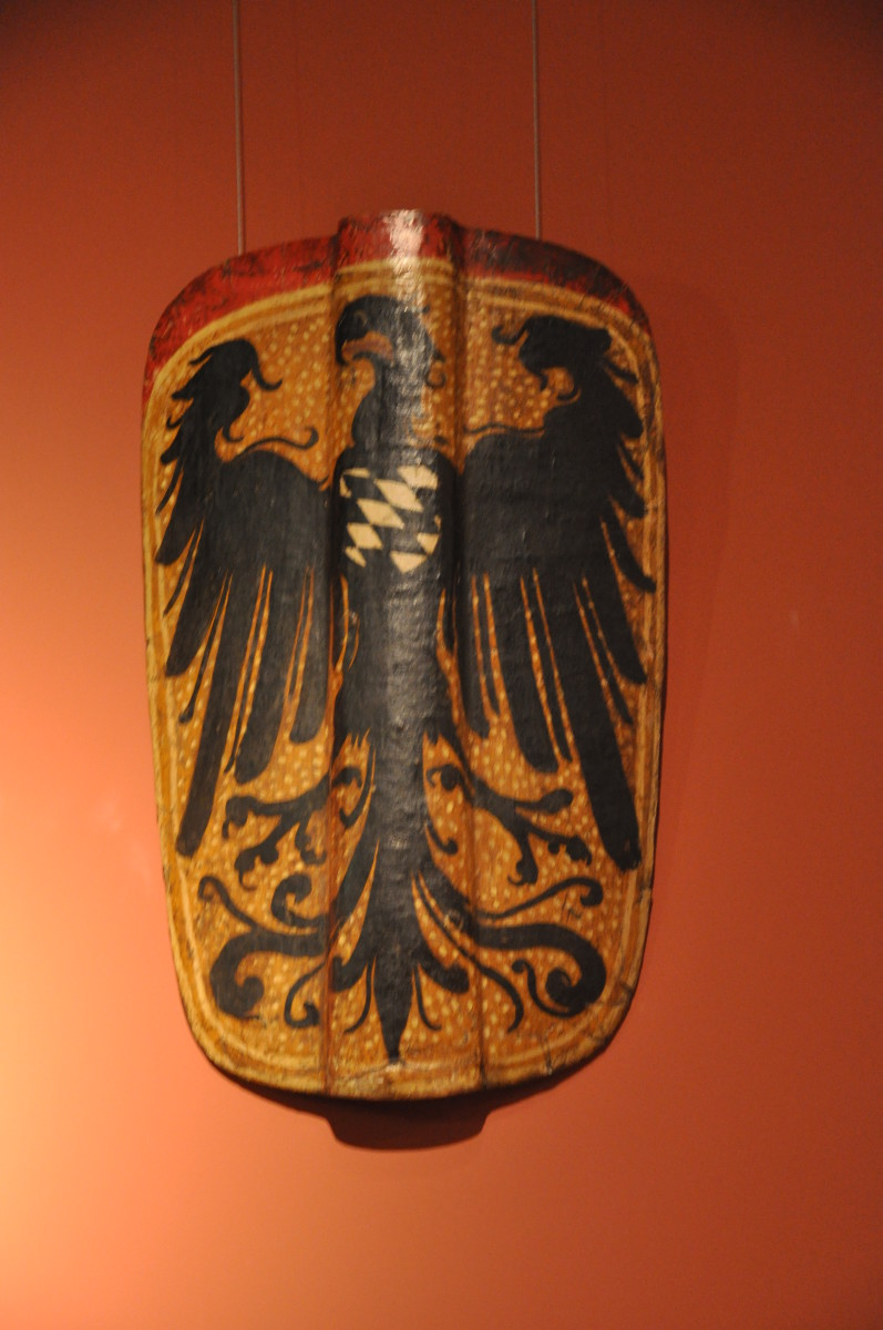 A pavise from Bavaria, dated to the late Middle Ages and painted with the arms of Shongau