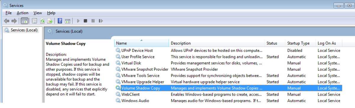 Configure the Volume Shadow Copy service to enable Shadow Copy on your PC.