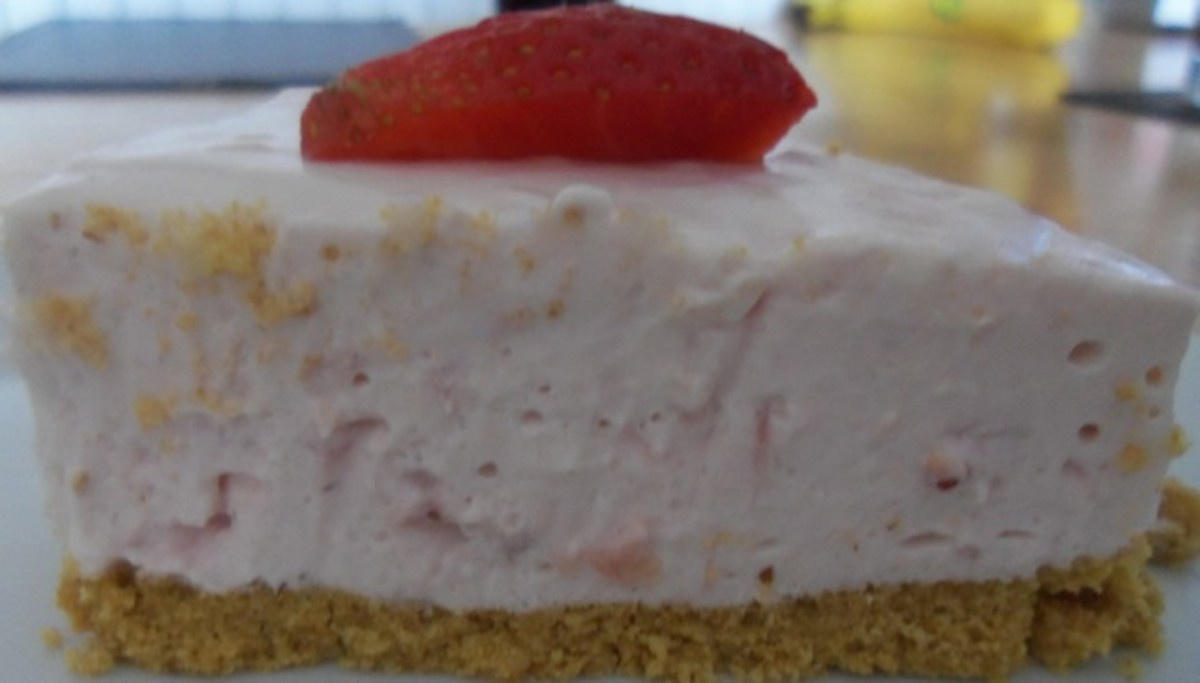 Strawberry cheesecake - recipe below.